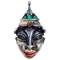 Reja Gilt Sterling Paste Face Brooch, 1940s