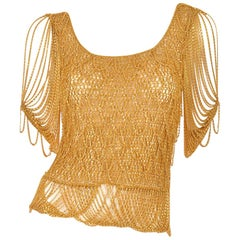 1970s Loris Azzaro Gold Beaded Knit Body Jewelry Sweater Blouse