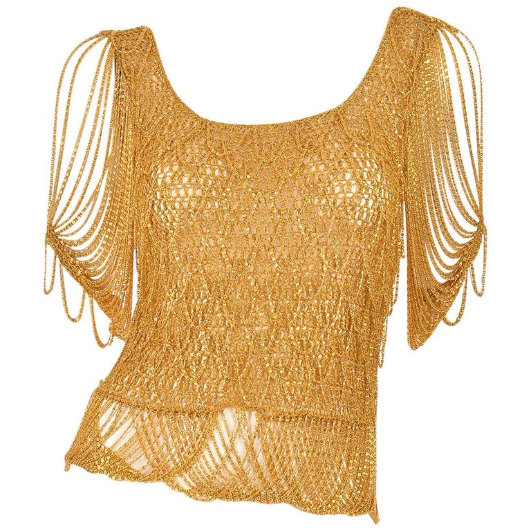 1970s Loris Azzaro Gold Beaded Knit Body Jewelry Sweater Blouse For Sale