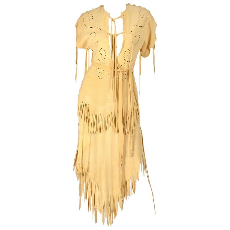 Authentic Vintage Native American Deer Skin Dress For Sale