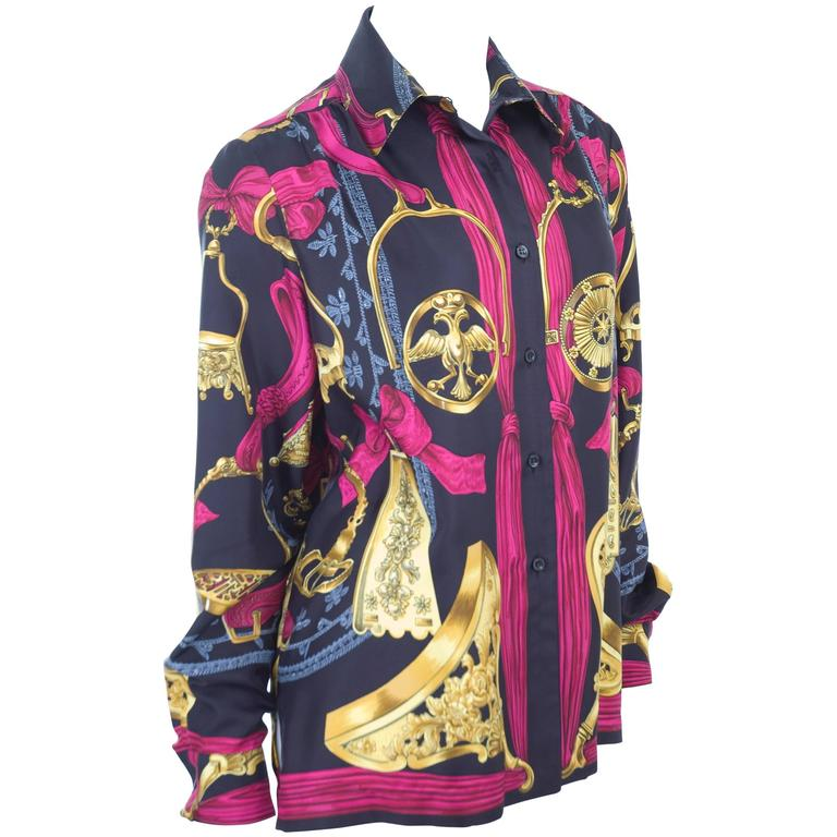 "Rare Vintage Hermes Vintage Silk Blouse "" ETRIERS ""  1"