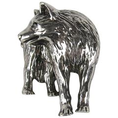 Carol Felley Sterling Silver Wolf Brooch 1990 New old stock