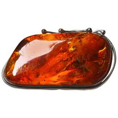 Antique Art Nouveau Amber Brooch