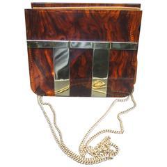 Sleek Tortoise Shell Lucite Gilt Trim Diminutive Handbag c 1970