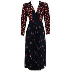 1974 Ossie Clark Black & Red Celia Birtwell Novelty Print Rayon Pleated Dress