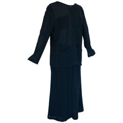 Chanel Navy Sheer Wool Crepe Jacket and Button Front Skirt Suit 2pc Size 44 1999