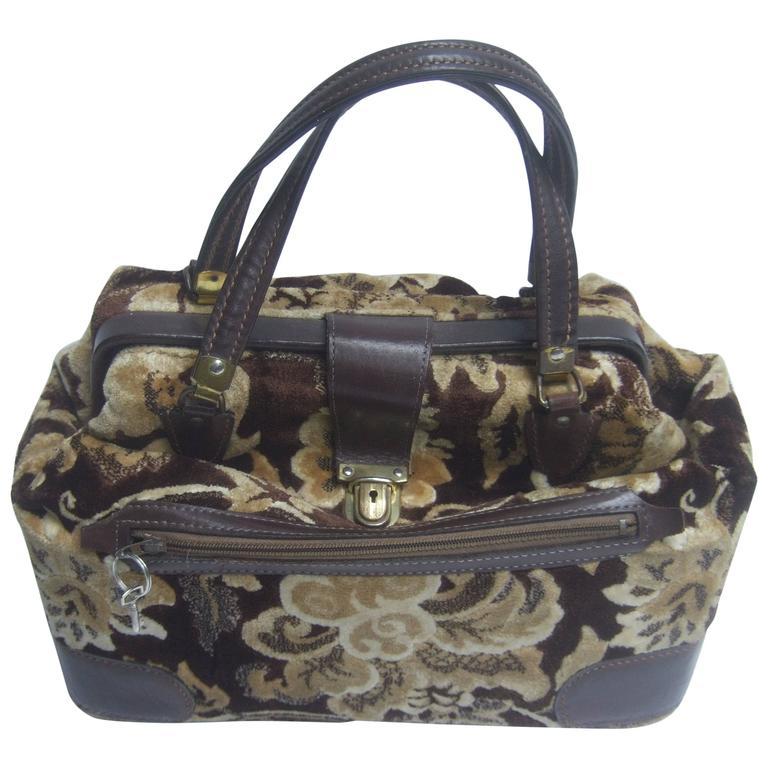1stdibs Stylish Brocade Leather Trim Travel Bag C 1970 RcGD2zTUgQ
