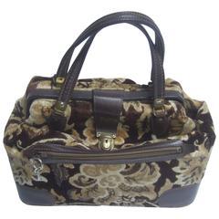 Stylish Brocade Leather Trim Travel Bag c 1970