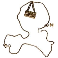 Chanel Gold Charm Necklace 2.55 Matelasse Flap Bag with CC Logo 05A Collection