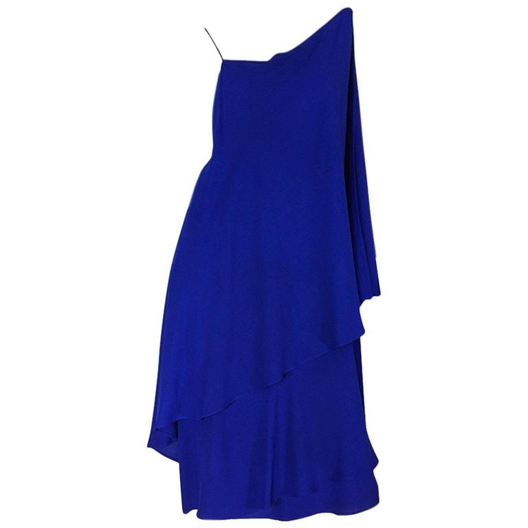 1980-82 Ruffled Halston Spiral Dress in Royal Blue Silk 1