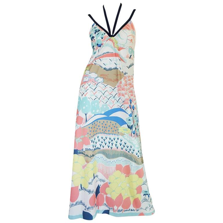 1970s Lanvin Pastel Scenic Printed Jersey Maxi Dress 1