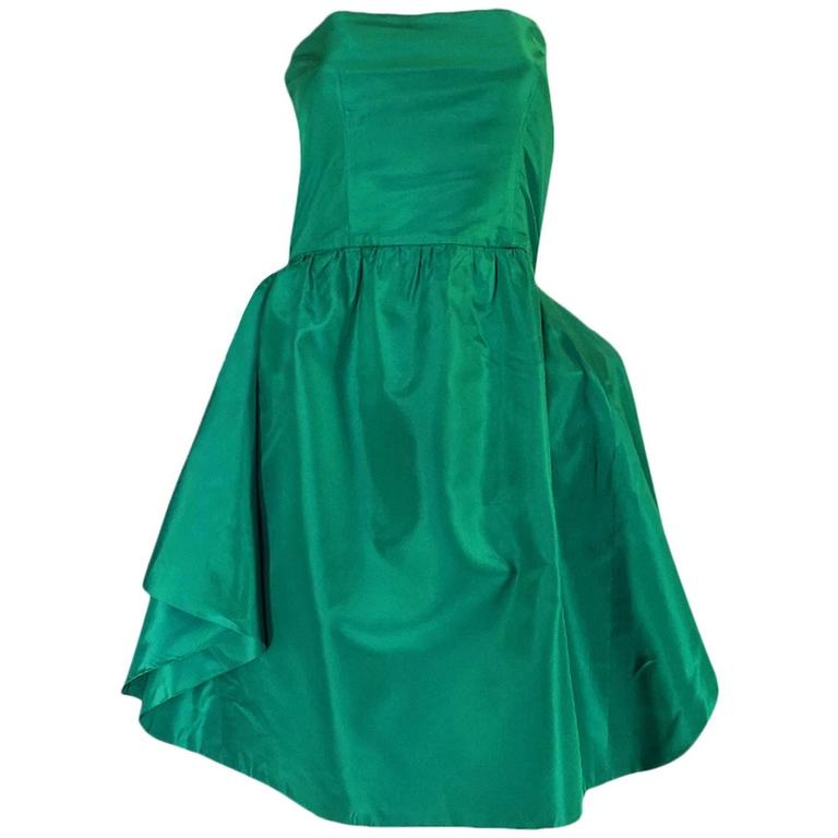 1980s Numbered Lanvin Brilliant Green & Blue Silk Dress For Sale