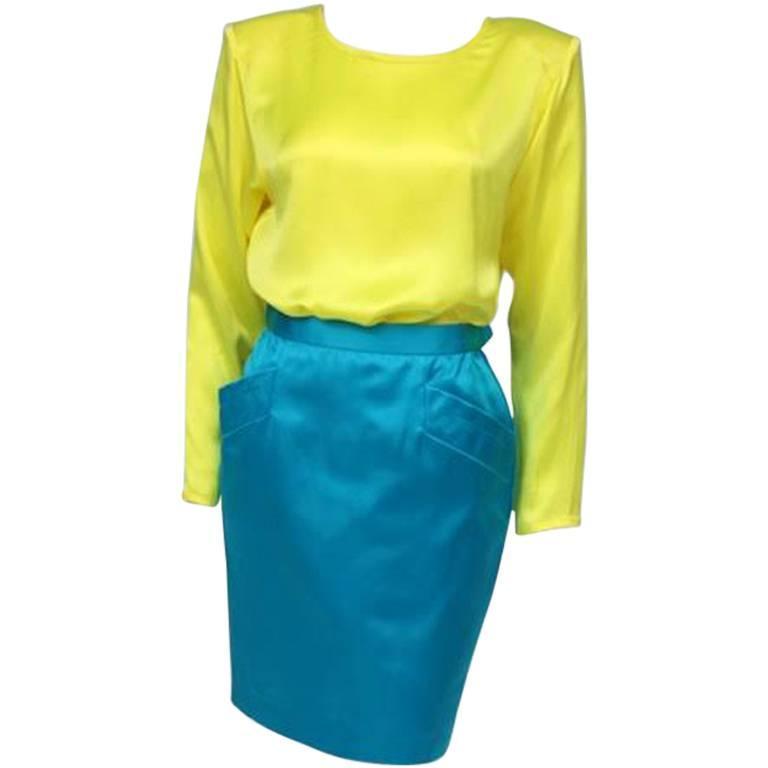 Yves Saint Laurent Neon Blue Skirt