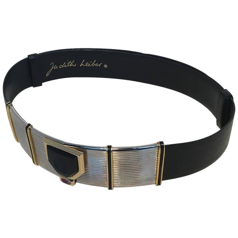 Judith Leiber Vintage Black Lizard Cameo Adjustable Belt 1