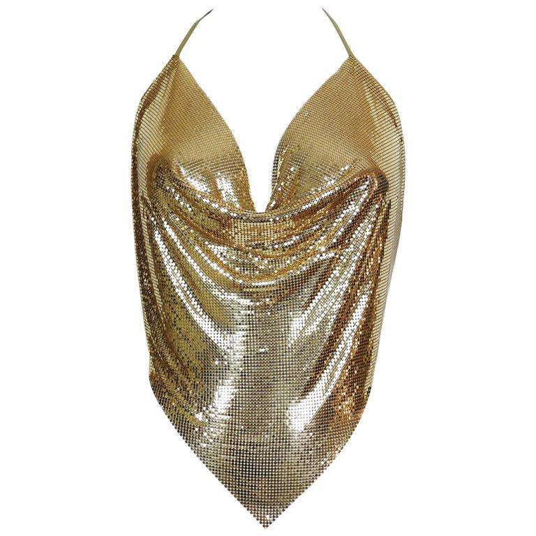 Diamant Noir Paris Vintage 1980s Disco Gold Metal Mesh Halter Top 1