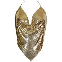 Diamant Noir Paris Vintage 1980s Disco Gold Metal Mesh Halter Top