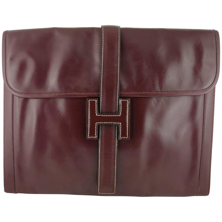 Hermes Vintage 1975 Jige Bordeaux Box Leather Clutch GM Size