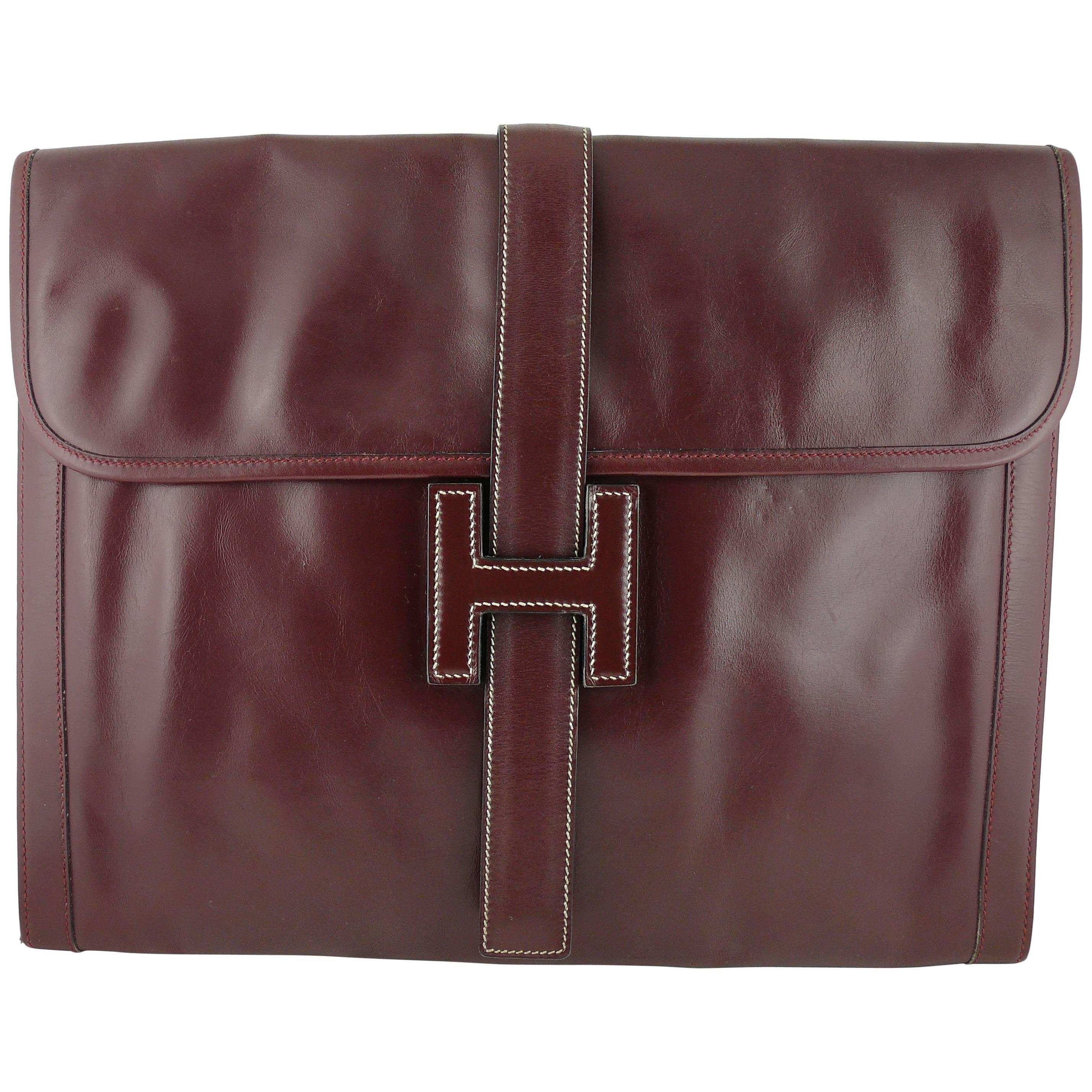 Hermes Vintage 1975 Jige Bordeaux Box Leather Clutch GM Size