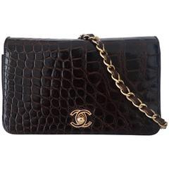 Authentic Chanel Vintage Mini Classic Flap Bag Brown Crocodile Gold Hdw