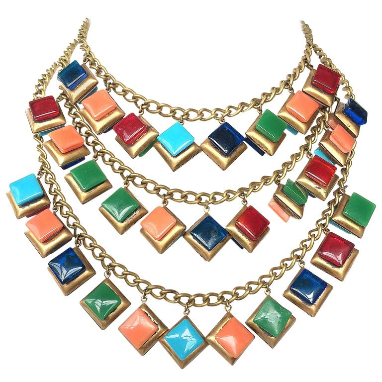 Striking three row glass square 'charm' necklace. 1