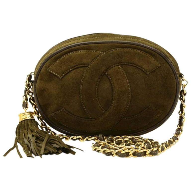 1990s Chanel Olive Green Suede Vintage Timeless Shoulder Bag For Sale
