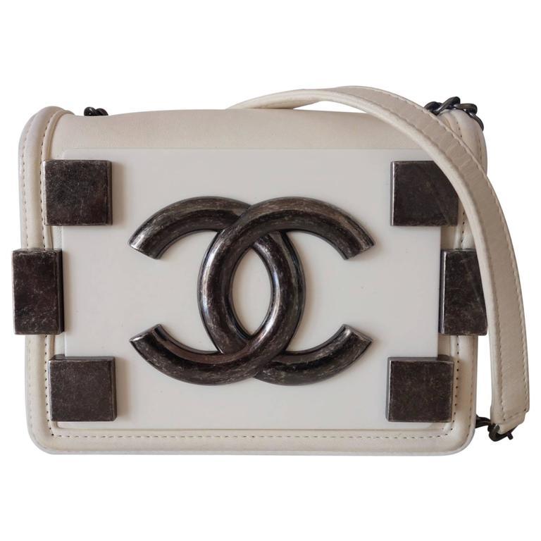 Chanel Boy Brick Lego Flap Bag White Leather 2 ways RARE 1