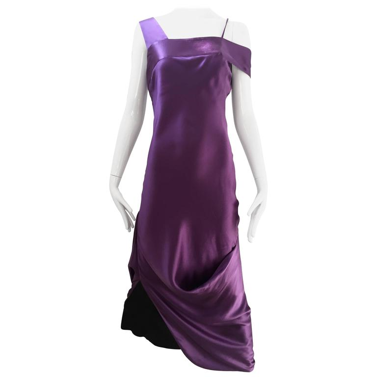ALEXANDER MCQUEEN Violet Grecian Silk Gown with Asymmetrical Shoulder