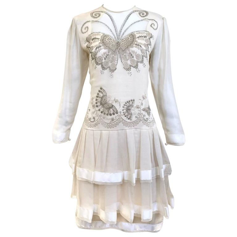 80s Zandra Rhodes off white silk dress with butterfly print For Sale