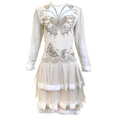 80s Zandra Rhodes off white silk dress with butterfly print