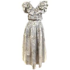 70s Oscar De La Renta grey and gold metallic linen 2 pcs