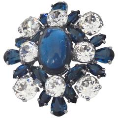 1959 Christian Dior Faux Sapphire and Diamond Brooch