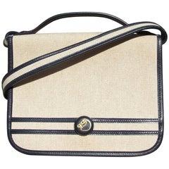 HERMES Vintage and Rare Handbag 2 ways Toile Canvas Leather