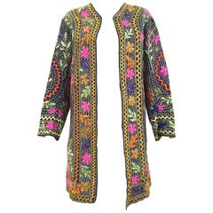 70s Multi color embroidered cotton coat