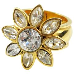 Yves Saint Laurent YSL Floral Cocktail Ring Clear Rhinestone size 7.75