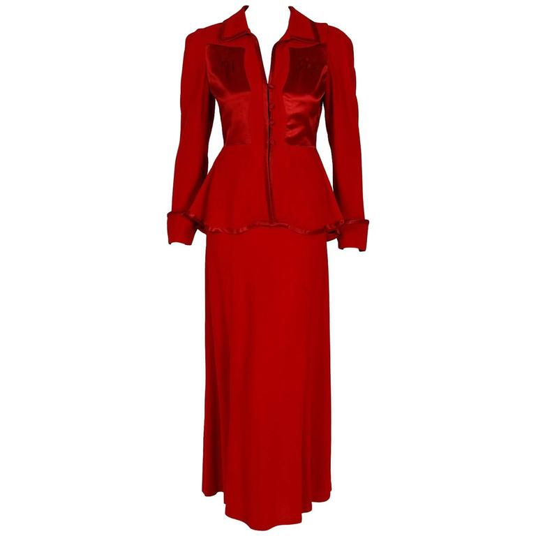 1975 Ossie Clark Red Moss-Crepe & Satin Deco Peplum Jacket Dress Gown Ensemble