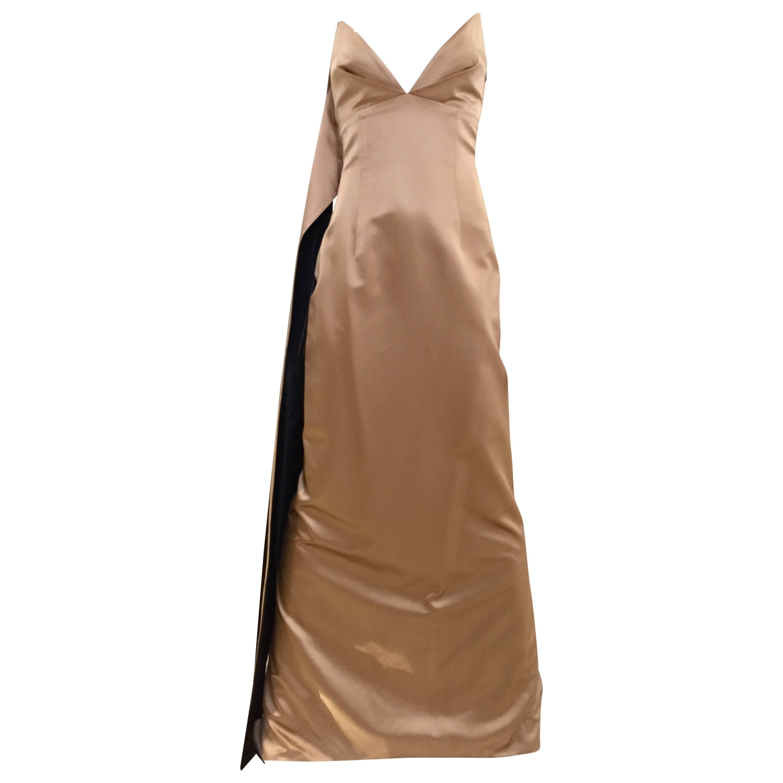 90s Richard Tyler mocha duchess silk satin strapless gown