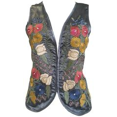 80s Mary Mcfadden grey silk embroidered vest