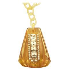 Art Deco huge Applejuice and Bakelite pendant necklace set with rhinestones