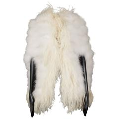 Ivory marabou and ostrich feather evening cape, circa 1960