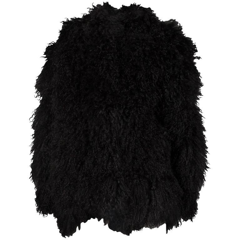 Oversized black Mongolian lamb bomber jacket, circa 1970s