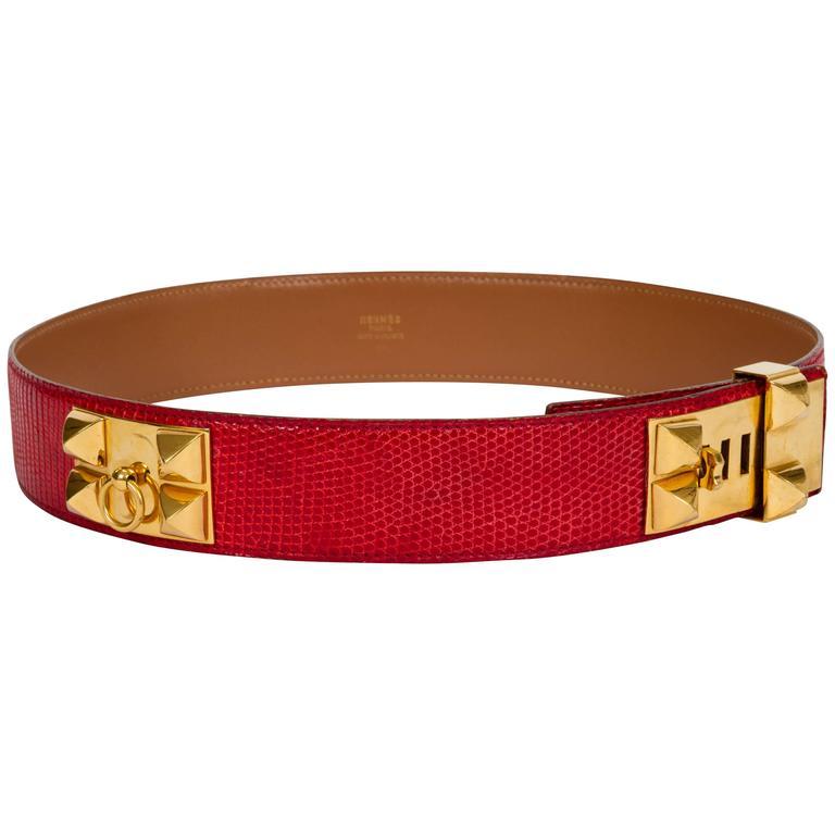 Hermès Red Collier De Chien Lizard Belt
