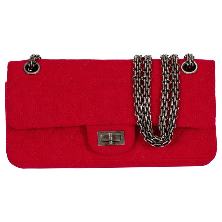 4fbdc81b0e8a Chanel Red Jersey Reissue Double Flap For Sale at 1stdibs