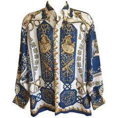 "Hermes Gentleman's Vintage Silk Shirt ""Ludovicus Magnus"" Pattern"
