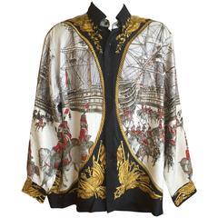 "Hermes Gentleman's Vintage Silk Shirt, ""Marine et Cavaleriie"" Pattern"