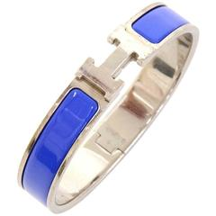 hermes leather x silver tone hook jumbo bracelet