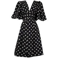 Yves Saint Laurent polka dot silk wrap dress, circa 1970