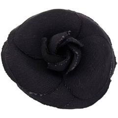 Chanel Black Camellia Brooch Pin