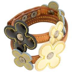 Louis Vuitton Multicolor Vernis Leather Flower Chocker Bracelet -  2002 Limited