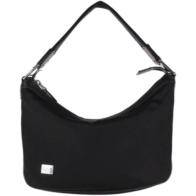 62da905b40bd GUCCI Black Canvas SHOULDER BAG Hobo TOTE HANDBAG Striped Strap For Sale