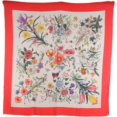 GUCCI VINTAGE FLORA SCARF Accornero FLOWERS Red Border
